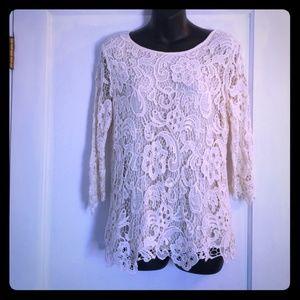 Adiva Ivory Lace Blouse. Size Medium